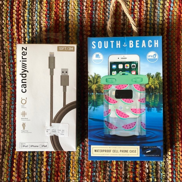 promo code 60fc7 5f71d Waterproof Cell Phone Case & Nylon iPhone Charger NWT